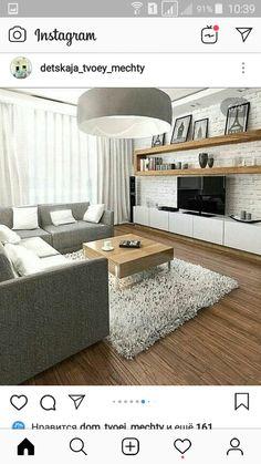 Living Room Tv, Living Room Modern, Living Room Designs, Apartment Design, Apartment Living, Corner Sofa Fabric, Kitchen Room Design, Loft Style, Modern House Design