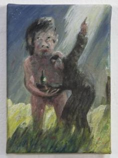 """""""'Tis An Omen!"""" (2013-2015) oil, watercolour and inks on canvas 21cm x 15cm x 1.5cm"""