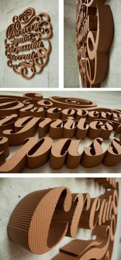 Creative Typography, Cardboard, Type, and Fhgfhgf image ideas & inspiration on Designspiration Typography Love, Typography Inspiration, Typography Letters, Typography Prints, Graphic Design Inspiration, Menue Design, Make Up Organizer, 3d Type, Type Art