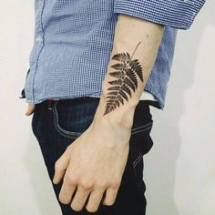 Hipster Fern Mens Lower Outer Forearm Tattoo Designs