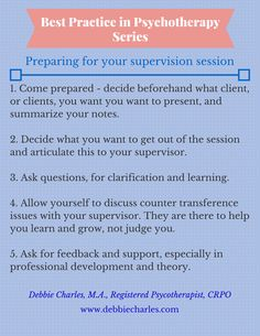 Coming prepared for your supervision session means you get the most out of the time with your Clinical Supervisor. Pinned from www.debbiecharles.com