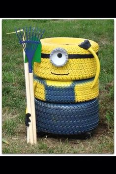 Recycled tyres to create something handy and CUTE for the yard or garden at home or at daycare! Great project to do with children♡