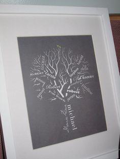 tree idea, family trees, gift ideas, christma decor, art, famili tree, gifts, diy project, families