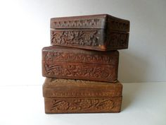 a trio of vintage wooden boxes . vintage wooden box . vintage trinket box . vintage wooden storage . rustic box