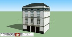 The house that inspired the paper model of this entrance is located in a small town in the province of Lugo, but could be located in any European city, large or small. It is a beautiful white building, with three floors, with moldings and balconies.