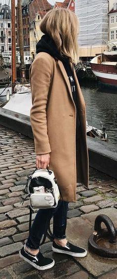 fall trends / coat + sweatshirt + bag + jeans + sneakers