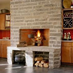 From custom floor-to-ceiling designs to prefabricated limestone hearths, find a stone fireplace to fit your exact style and space. Stone Fireplace Designs, Wood Fireplace, Fireplace Seating, Fireplace Ideas, Ceiling Design, Hearth, My Dream Home, Home And Living, Table
