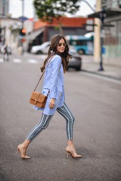 striped jeans, blue top, Nude heels,  suede crossbody bag