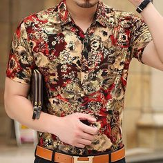 Freshen Up Your Wardrobe with a Touch of Exclusive Styles. Best Casual Shirts, Outfits With Striped Shirts, Indian Men Fashion, African Fashion, African Style, Camisa Floral, Streetwear, African Tops, Men Style Tips
