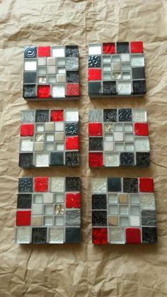 6 set tile mosaic coasters. SOLD.