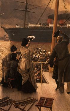 """Goodbye"" – On the Mersey (c. 1881), by James Tissot. Well wishers waving at a Cunad steamer setting sail from the port of Liverpool"