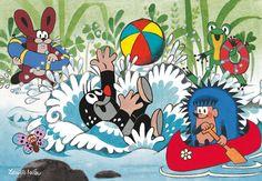 (2014-07) #Muldvarpen bader sammen med haren, frøerne og pindsvinet Ravensburger Puzzle, Nina Klein, Disney Cars, Little Monsters, Mole, Childrens Books, Illustrators, Origami, Fairy Tales