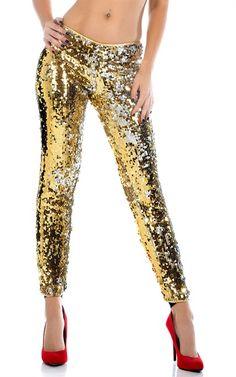 buyinvite.com.au - Two-Way Sequin Low-Rise Jogger Pants Costume Gold