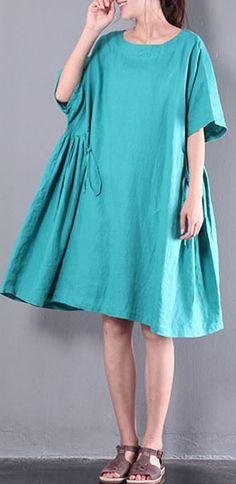 casual linen sundress baggy oversize women dresses patchwork o neck traveling dress