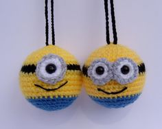 handmade crochet hanging decorations based on my favourite minion characters! choose one or two eyes!  They would look great on your Christmas tree