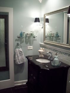 I love this wall color for the bathroom. (with dark wood)
