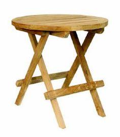 Teak Beistelltisch Tisch Balkontisch Holz Klappbar Ø 40 Cm