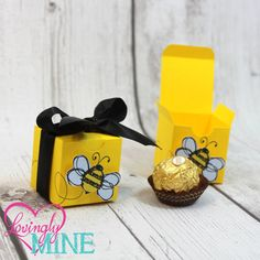 Small Favor Boxes Bumble Bee Yellow Black White By LovinglyMine