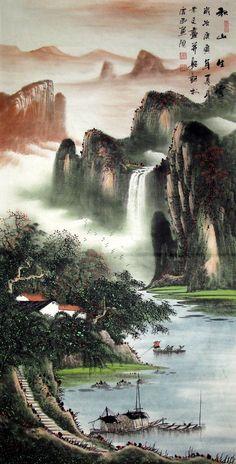 china mountain waterfall painting - Google Search