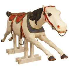Tandem Seat Carousel Horse | From a unique collection of antique and modern carnival art at https://www.1stdibs.com/furniture/folk-art/carnival-art/