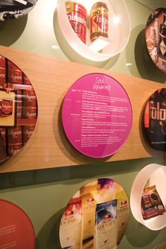 Circular labels and display cases: proctor & gamble coffee, white design group  more pedestals