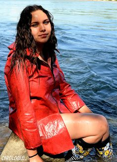 Léa Cacciatore, Exterieurs, 8720 - This photo is copyrighted by the photographer and may not be used without permission. COPYRIGHT : Cirologie.com Pvc Raincoat, Cacciatore, Cover Up, Collections, Dresses, Fashion, Vestidos, Moda