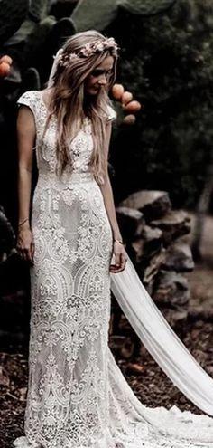 Boho Wedding Dress With Sleeves, Rustic Wedding Dresses, Lace Mermaid Wedding Dress, Long Wedding Dresses, Perfect Wedding Dress, Bridal Dresses, Prom Dresses, Dress Prom, Boho Chic Wedding Dress