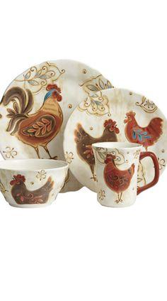 Gallo Dinnerware - Rooster Kitchen in my future? Rooster Kitchen Decor, Rooster Decor, Red Rooster, Chicken Kitchen, Chickens And Roosters, Galo, Dinnerware Sets, Farmhouse Chic, Fall Home Decor