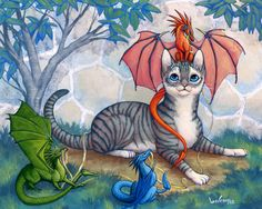 Aww the tabby and dragons :)