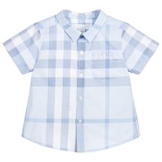 BURBERRY Baby Boys Blue Checked Shirt