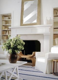 fireplace | chairs flanking fireplace