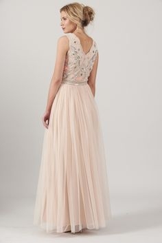 71705df93 Frock and Frill Clelia Pink Embellished Bodice Full Mesh Tulle Skirt Maxi  Dress Embellished Bridesmaid Dress