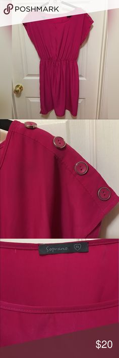 Silky cinch waist pink dress with button sleeves Silky cinch waist pink dress with button sleeves. size medium but could also fit a small. Super cute a flowy and light material perfect to wear in summer or spring. Only worn about 2 times. Soprano Dresses