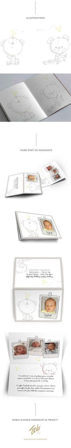 Aujourd'hui je vous présente la réalisation d'un faire part de naissance sur mesure avec illustration pour des particuliers.  http://www.sebastien-galdeano.com/portfolio/3-Print/-Faire_part/471-Faire_part_naissance.html