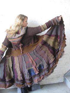 UpcYclEd Sweater Coat XL   Autumn Walking Coat by katwise on Etsy