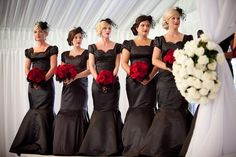 Swanky wedding by Hollye Schumacher Photography like the colors, not the dresses. Black Red Wedding, Black Wedding Gowns, Gothic Wedding, Glamorous Wedding, Purple Wedding, Dream Wedding, Black Weddings, Wedding Dresses, Black Bridesmaids