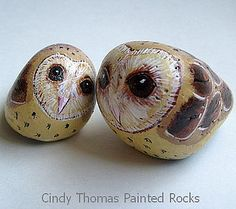 Painted Owls Rocks by Painted Rocks by Cindy Thomas, via Flickr
