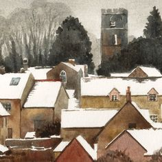 English Village in Winter watercolor.