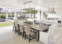 Take a look at these ten dreamy indoor/outdoor living spaces. So pretty for flooding your house with light, increasing living space, and entertaining. Contemporary Kitchen Renovation, Contemporary Rugs, Indoor Outdoor Living, Outdoor Dining, Outdoor Spaces, Outdoor Kitchens, Outdoor Cooking, Open Plan Kitchen, Kitchen Ideas