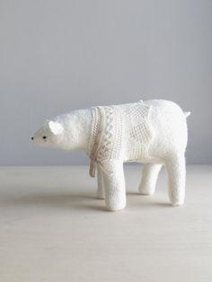 polar bear in winter finery / soft sculpture animal by ohalbatross