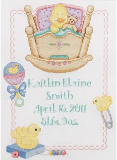 Bucilla Twinkle Twinkle Little Star Birth Record - Cross Stitch Kit. Cross Stitch Kit includes 14 Ct. White aida, cotton embroidery floss, needle, floss separat