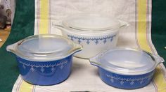 Vintage Pyrex  Blue White Snowflake Garland Glass Covered Casserole Refrigerator Bowl 6 Piece Set. $55.00, via Etsy.