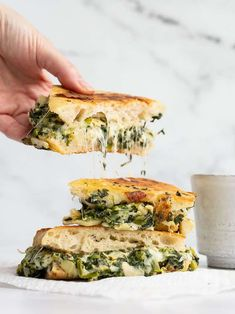 Spinach Artichoke Grilled Cheese - Budget Bytes Types Of Sandwiches, Wrap Sandwiches, Specialty Sandwiches, Steak Sandwiches, Kitchen Recipes, Cooking Recipes, Cooking Ideas, Vegetarian Recipes, Healthy Recipes