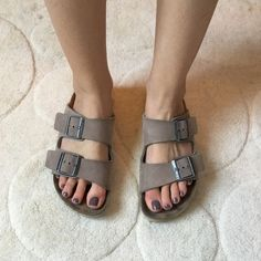 Birkenstock Sandals size 38 Super smooth leather suede taupe Birkenstocks. Foot bed in good condition, leather straps in great condition. Birkenstock Shoes Sandals
