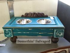 Another dog feeding station -- keep the bowls off the floor // Somethin' Salvaged: repurposed items