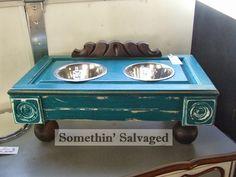 Somethin' Salvaged repurposed cabinet door, rosettes, couch pediment pet dish