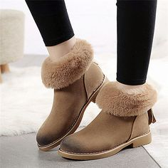 52% Off Only US $32.66 and FREE Shipping, Fashion Women Snow Boots Ladies Flock Plush Winter Ankle Boots Zip Female Shoes Chaussure Femme Boottes