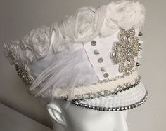 White bohemian wedding hat with feathers sequins rhinestones, leather & lace and spikes, burning man festival playa bride headdress