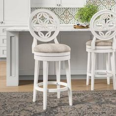House of Hampton Rachael Bar & Counter Swivel Stool Colour: White, Seat Height: Bar Stool Seat Height) Counter Height Bar Stools, Counter Height Dining Sets, Swivel Bar Stools, Bar Counter, Bar Chairs, Bar Tables, White Bar Stools, Bar Stools With Backs, French Country Bar Stools