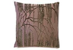 Willow 16x16 Silk-Blend Pillow, Iris